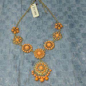Jacarii Necklace Gold Tone & Orange Peach